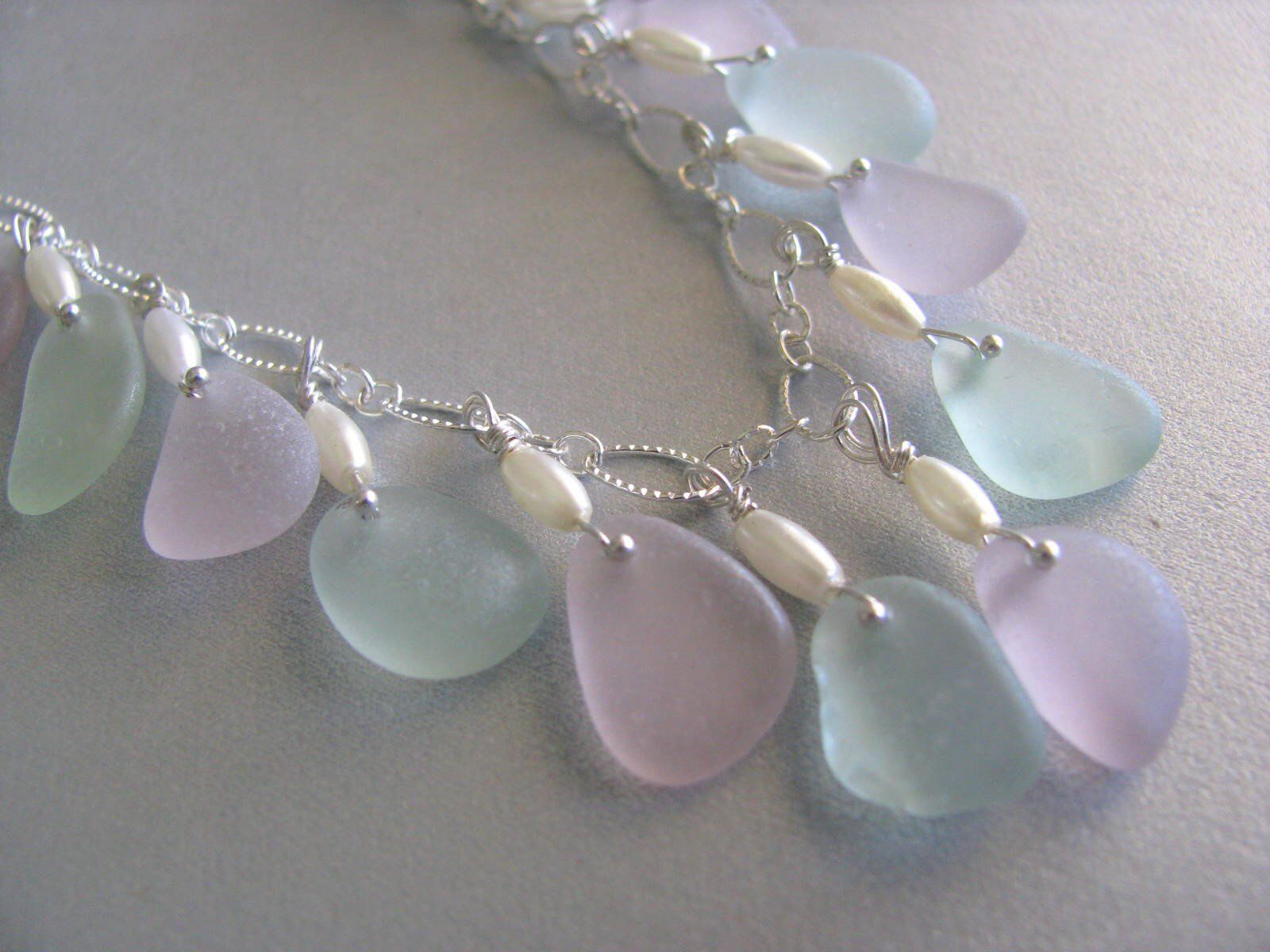 Photo of Christmas Jewelry -Genuine Handmade Sea Glass Necklace-Amethyst- Seafoam Beach G…