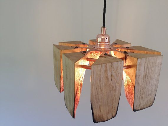 Bespoke oak copper and copper guild pendant light fitting