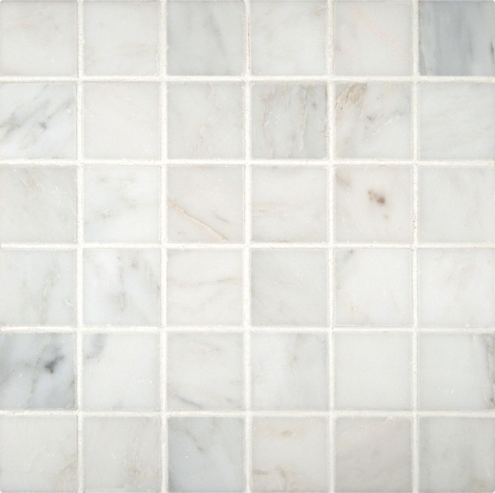 - Greecian White 12-inch X 12-inch Polished Beveled Marble Mosaic