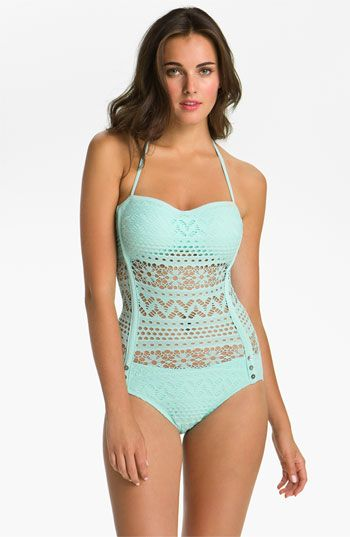 f357a2335 Robin Piccone  Penelope  Crochet Overlay One Piece Swimsuit available at   Nordstrom OMG!!!
