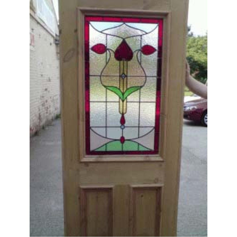 Lovely Edwardian Original Stained Glass Exterior Door / Interior Door Art Nouveau  Design With Full Surround Windows