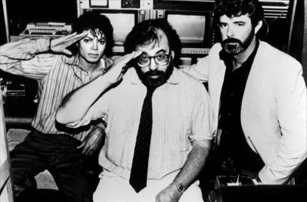 Michael Jackson, Francis Ford Coppola, and George Lucas, probably during the filming of 'Captain EO' for Disneyland, c. 1985.
