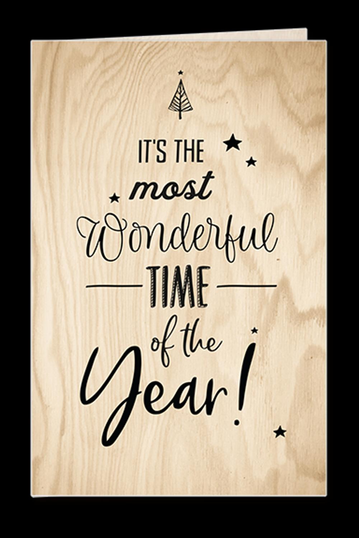Handlettering Weihnachtskarte in Holzoptik