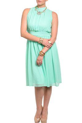 Plus Size Classy Flowy Chiffon Knee Length Date Dress