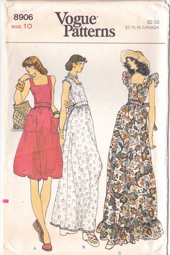 1970s Dress Pattern Vogue 8906 Sleeveless Boho By Friskyscissors