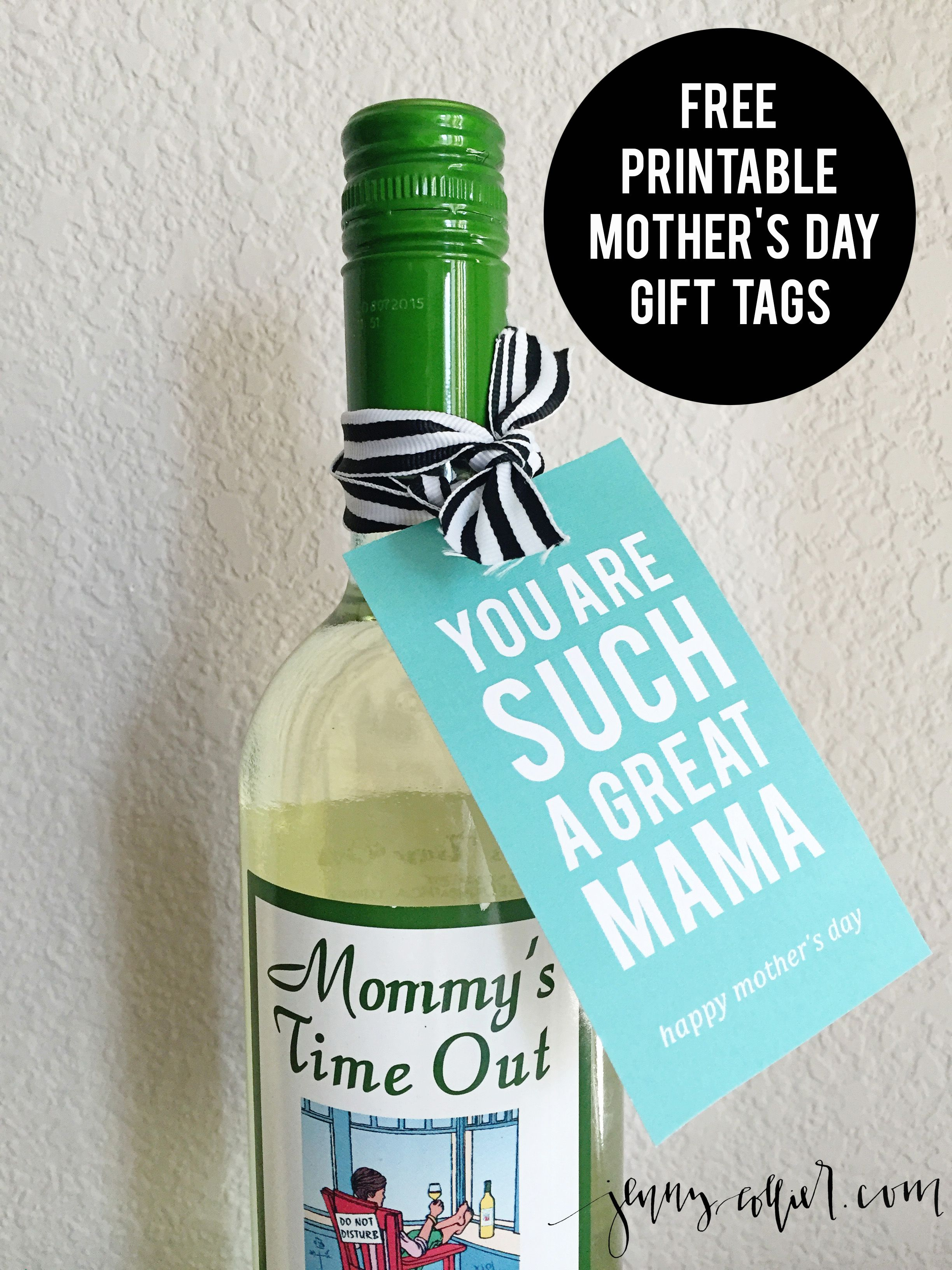 mother's day gift tags | gift, free printables and bottle