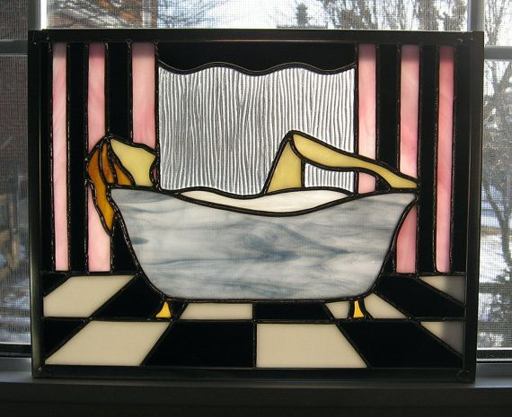 Bubble Bath Woman Art Deco Stained Glass by StainedGlassYourWay, $95.00