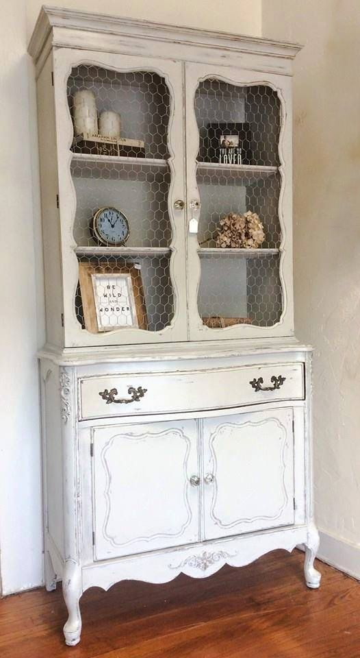 Vintage French Provincial Hutch finished in a soft gray pallet and ...