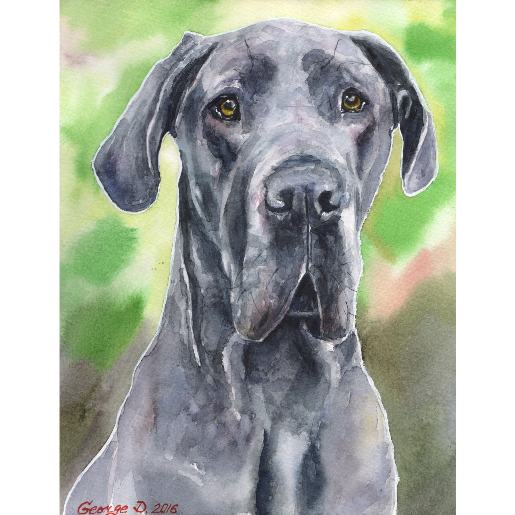 Marmont Hill Handmade Great Dane Print On Wrapped Canvas Dog