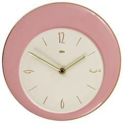 Charming Pink and White Mid-Century Porcelain Wall Clock, Germany, 1950s