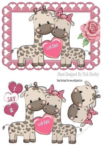 UME Cute pair of Giraffes in heart frame A5 Makes a lovely