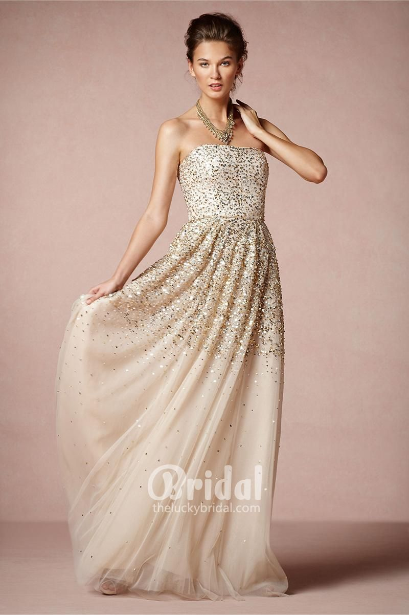 Strapless Sparkle Wedding Dress with Gold and Silver Sequins and ...