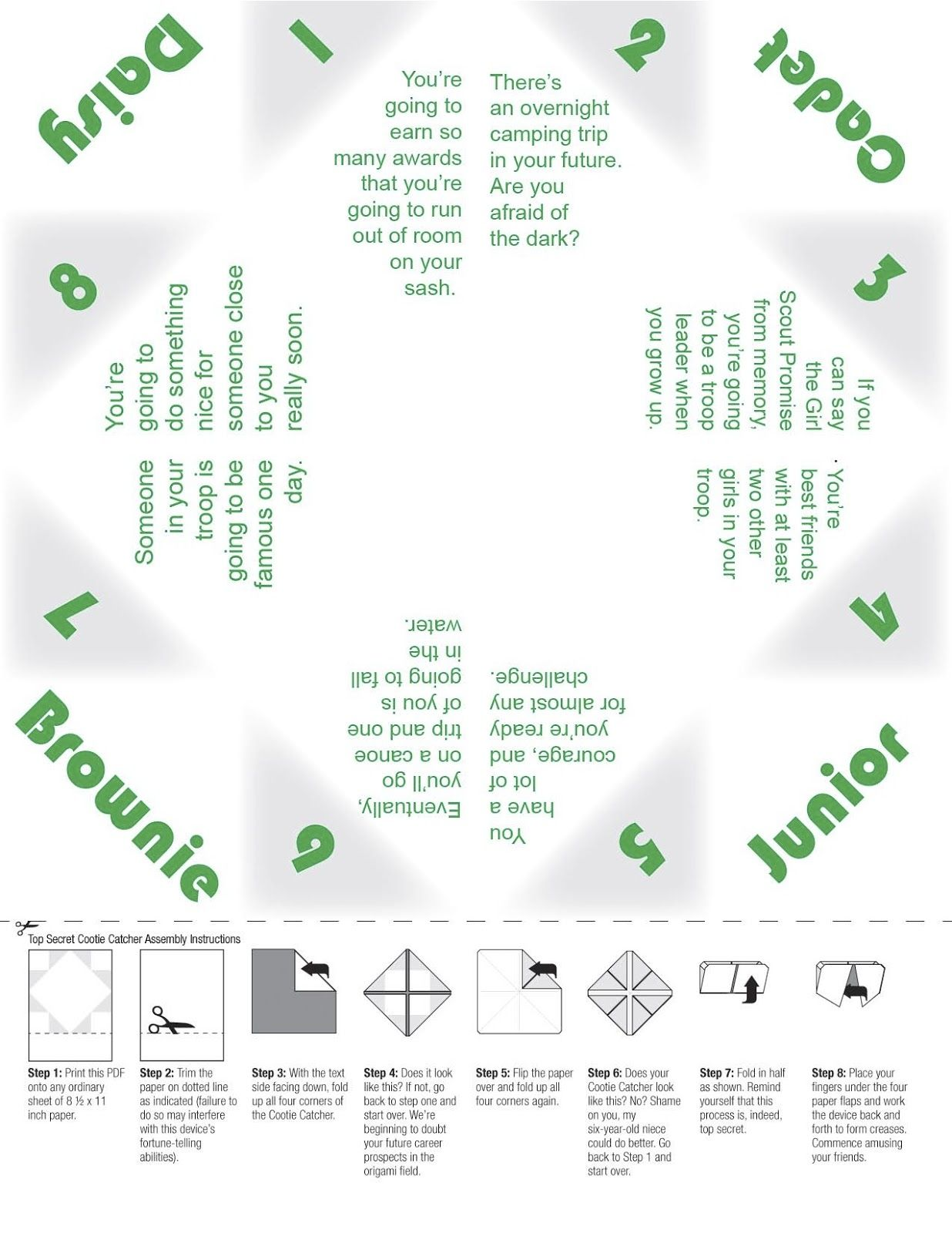 Our Girl Scout Troop Girl Scout Worksheets Web Sites And Links Cootie Catcher