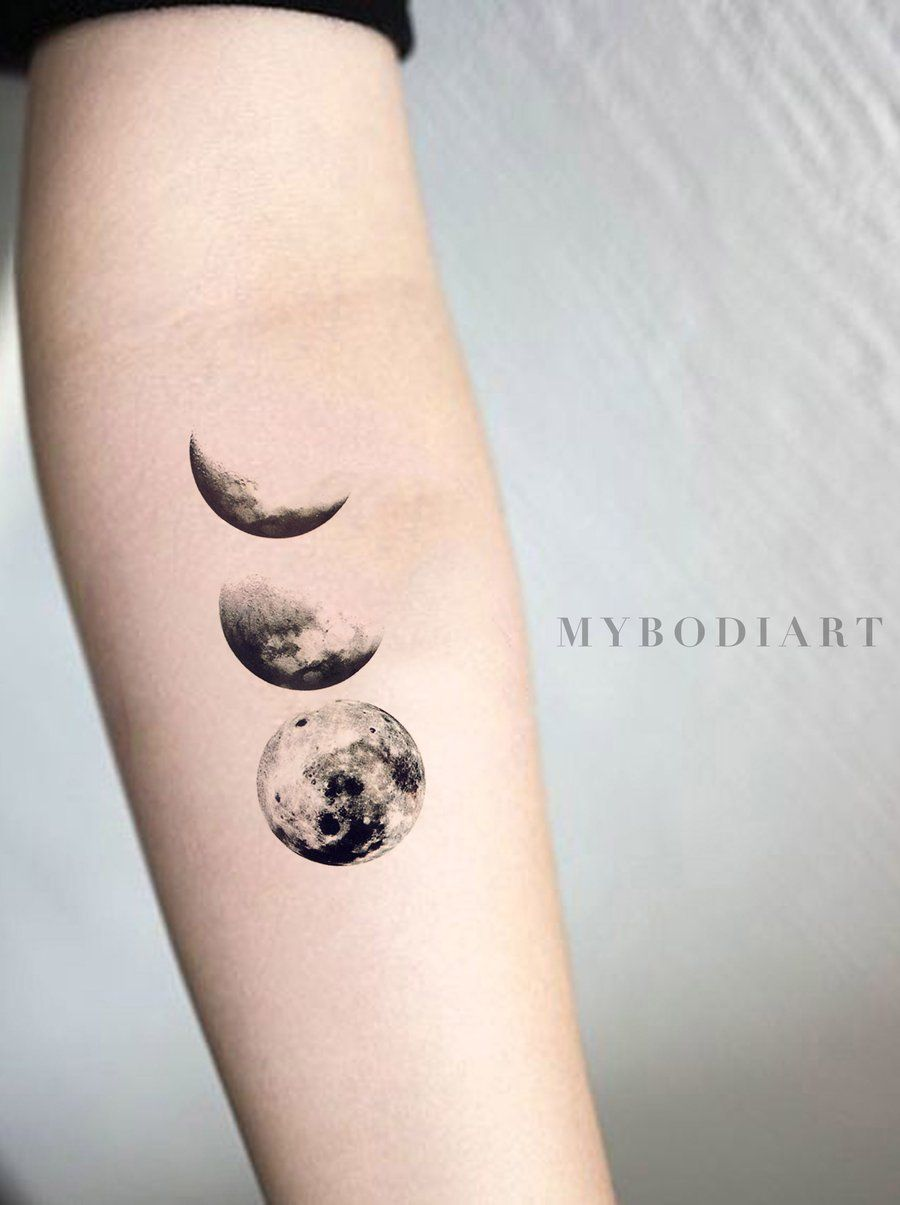 Solenca Black And White Crescent To Full Moon Phases Nature Temporary Tattoo Moon Tattoo Designs Body Art Tattoos Neck Tattoo