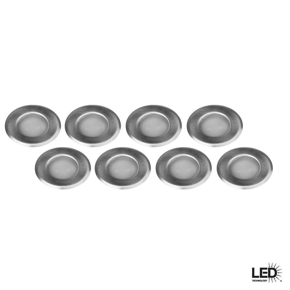 Hampton Bay Low Voltage Stainless Steel Integrated Led Deck Light 8 Pack Hd28101bs8 Deck Lighting Led Lighting Home Steel Deck