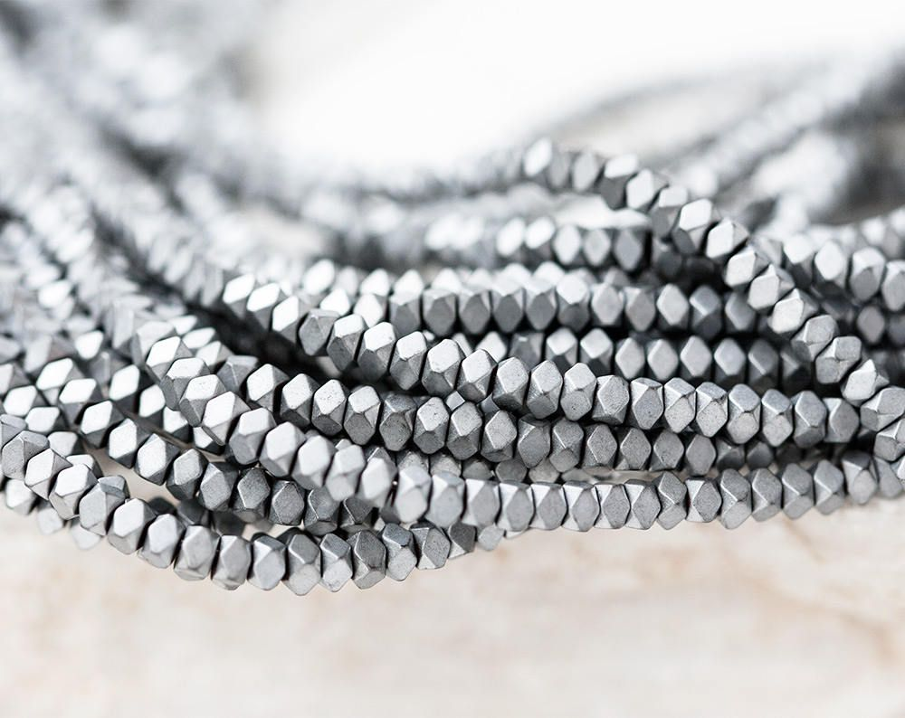 hematite product beads strand nature silver electroplated matte