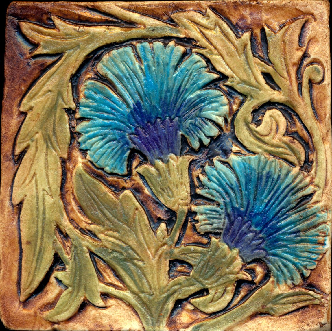 SALE Arts and Craft Style Gingko Green Matte Tile, 4, handmade ...
