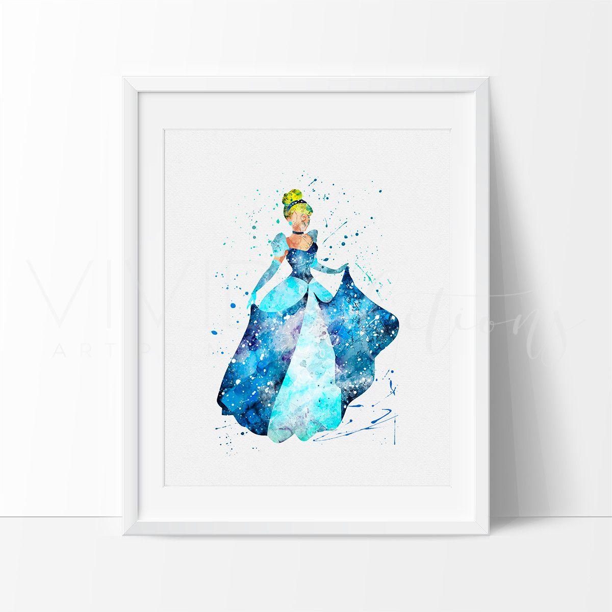 Disney Princesses Watercolor Art Print