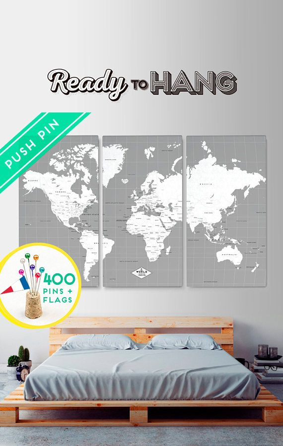 Customized world map canvas push pin gray white set 3 free customized world map canvas push pin gray white set 3 gumiabroncs Images