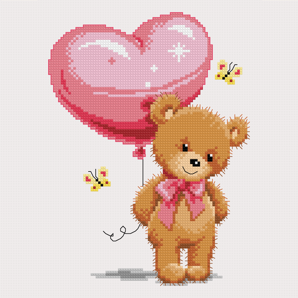 Teddy with balloon (Free Chart)