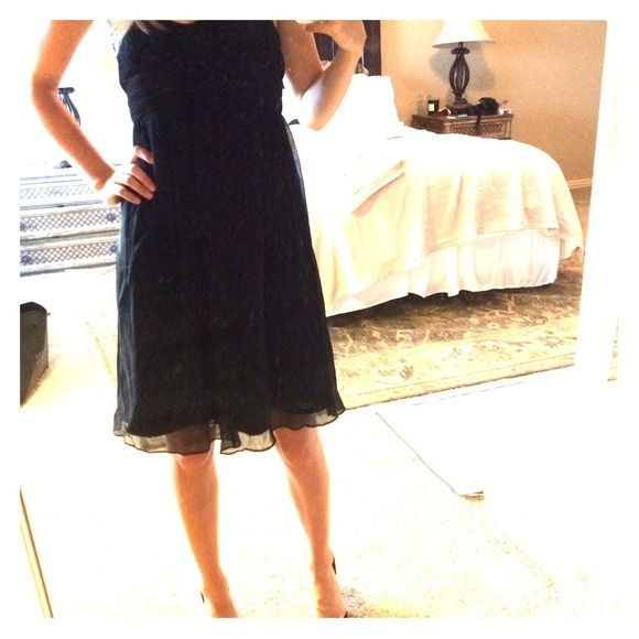 J. Crew black silk chiffon dress, size 0 Worn once! Black J.Crew silk chiffon dress. Perfect condition. Great for bridesmaids or a pretty black cocktail dress. Fit is very small. Size is 0, but fits more like 0 Petite. J. Crew Dresses