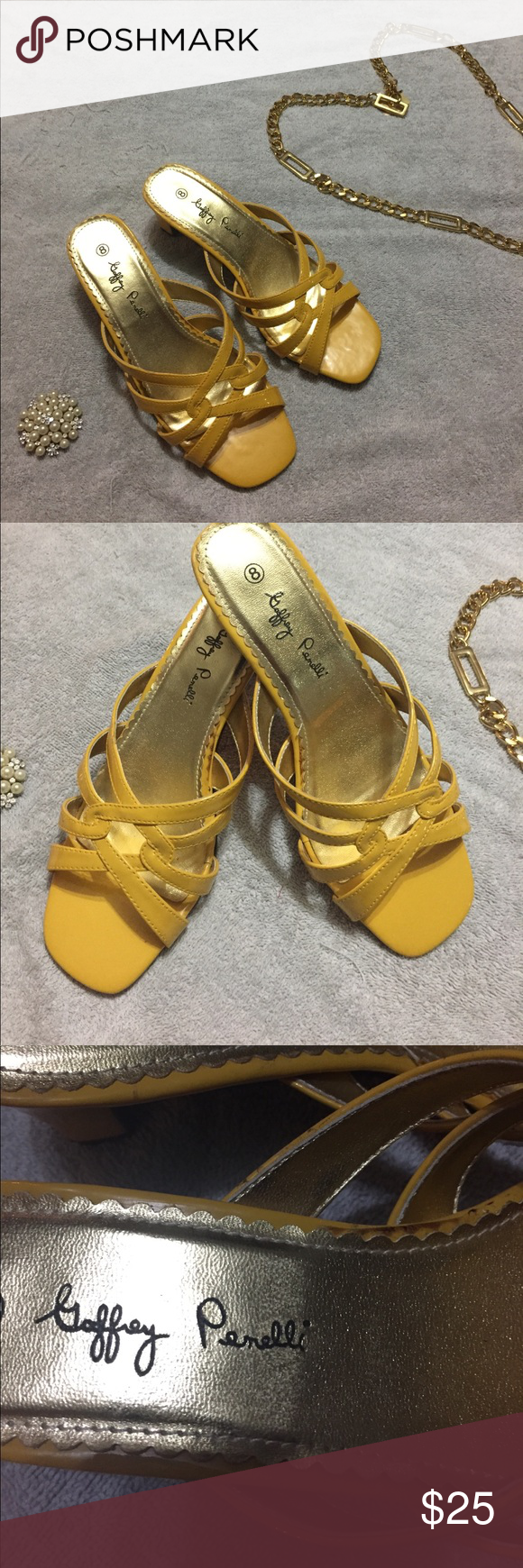 Goffrey penelli womens yellow dress sandals size gold belts