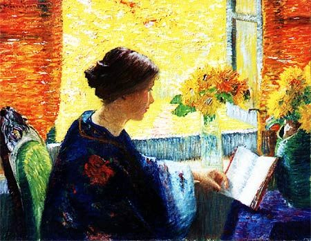 "Morton F. Johnson (American, 1878-1939) - ""Reading"" - Oil on Canvas, ca. 1902-1904"