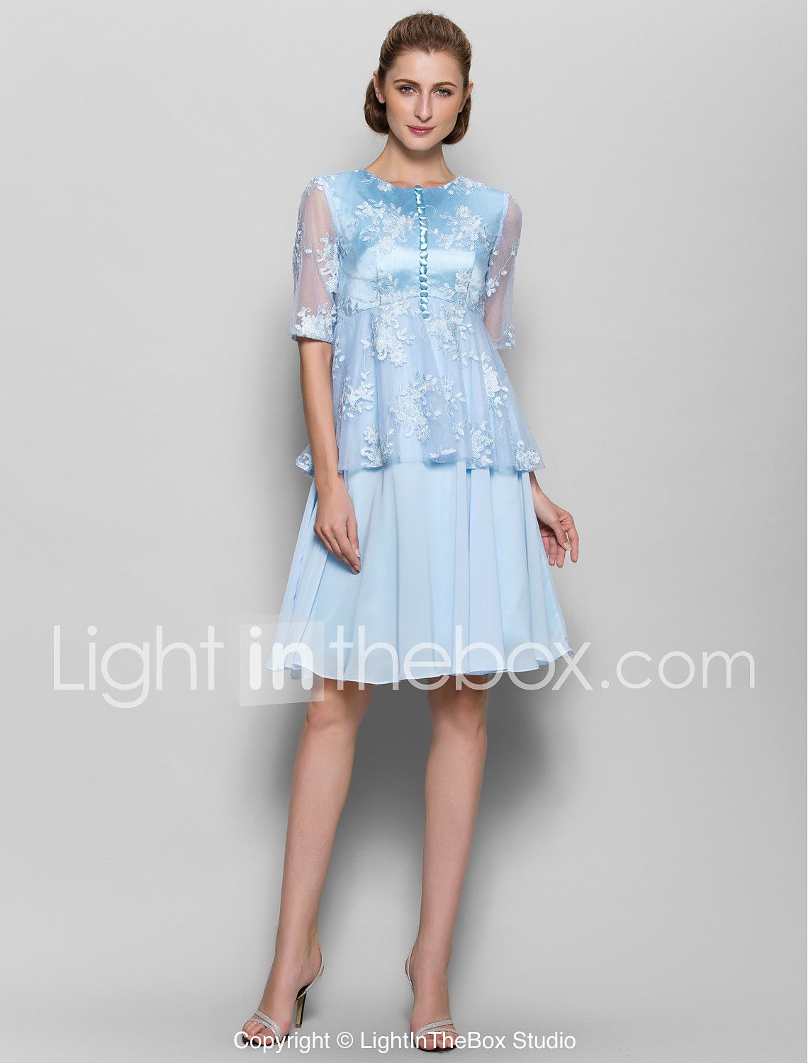 6e99ec75289 A-Line Jewel Neck Knee Length Chiffon Lace Mother of the Bride Dress with  Buttons by LAN TING BRIDE® 4368550 2018 –  53.99