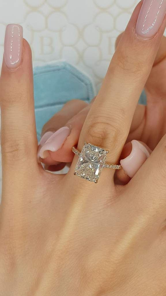 6.30 Carats Radiant Cut Cathedral Hidden Halo Micr