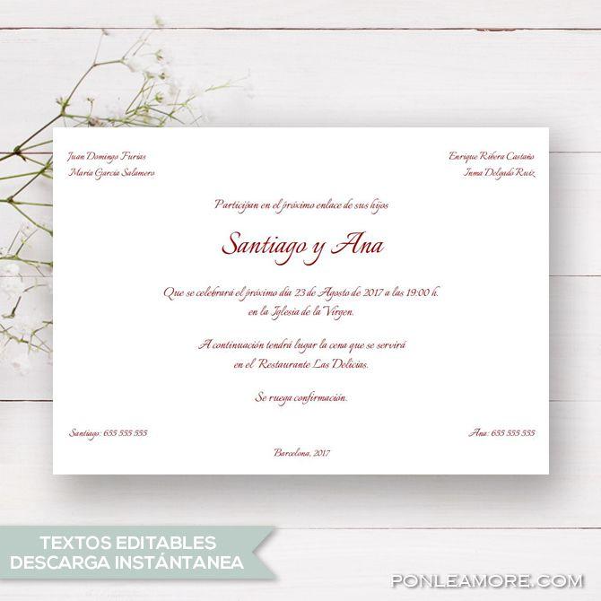 Invitación De Boda Clásica Imprimible Plantilla Pdf Para