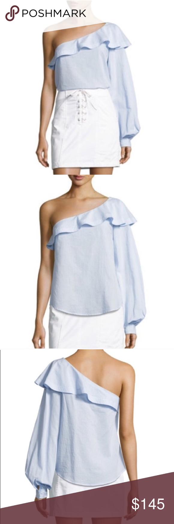 """16b124a4ee6 A.L.C One Shoulder Ruffle Top Bouffant Sleeve NWT A.L.C. """"Brielle"""" one  shoulder/one"""