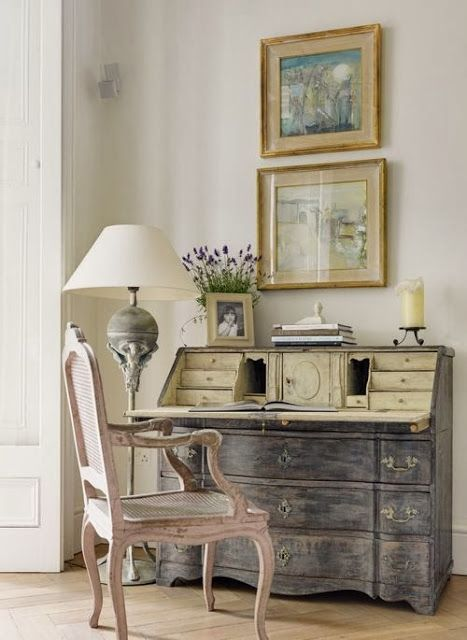 Gray Secretary Type Bureau With Green Interior South S Decorating Blog Weekend Roomspiration