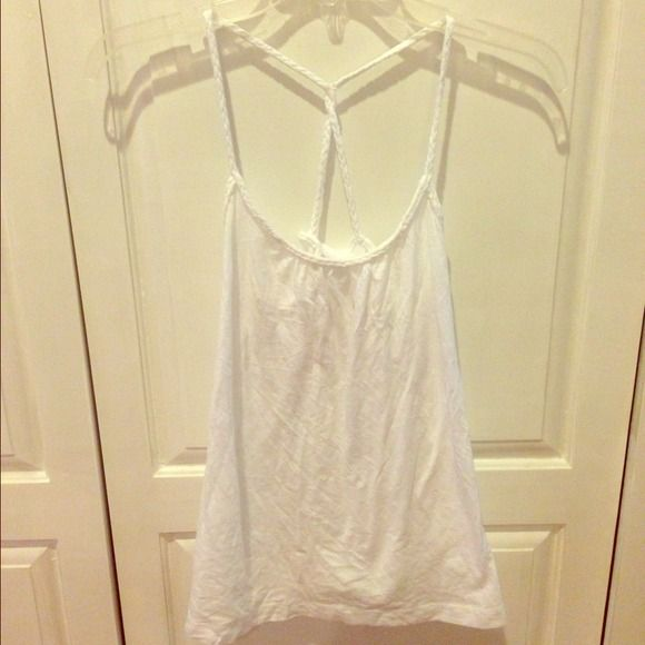 White racer back shirt White racer back shirt with braided trim. Excellent condition. Old Navy Tops
