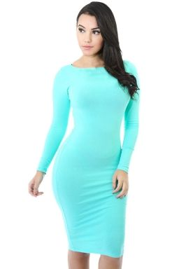 Womens Plain Long Sleeve Midi Bodycon Dress Light Blue