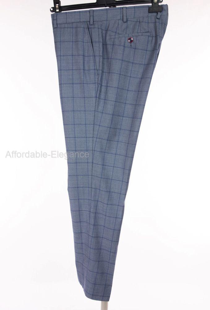 LAB PAL ZILERI 100% Wool Dress Pants 35 L Blue Check W35 L30.5 Flat ... fb82fb1523