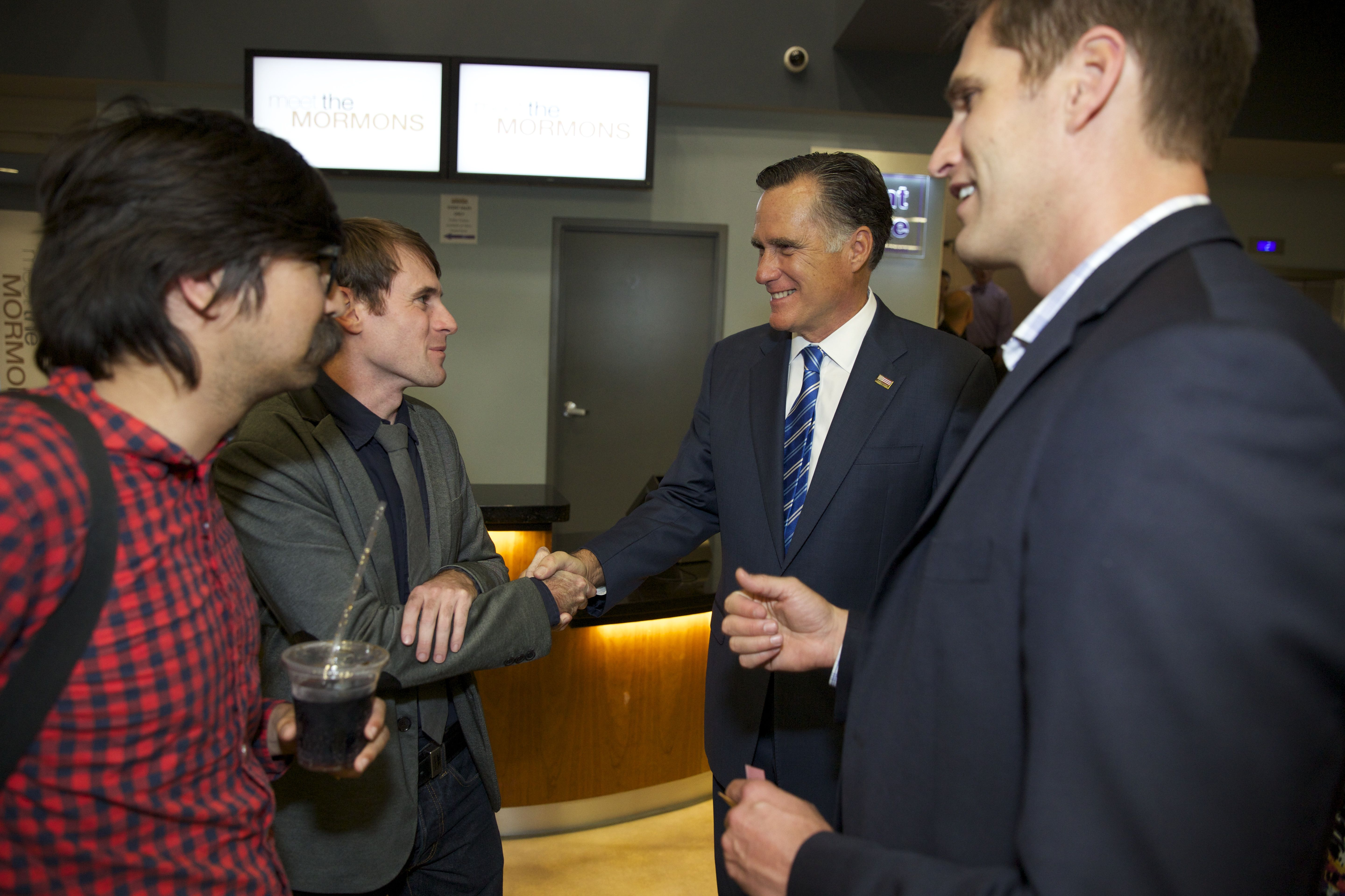 Mitt Romney and Matt Meese from @BYUtv's Studio C hanging out at the #MeetTheMormons movie premiere! Learn more at meetthemormons.com