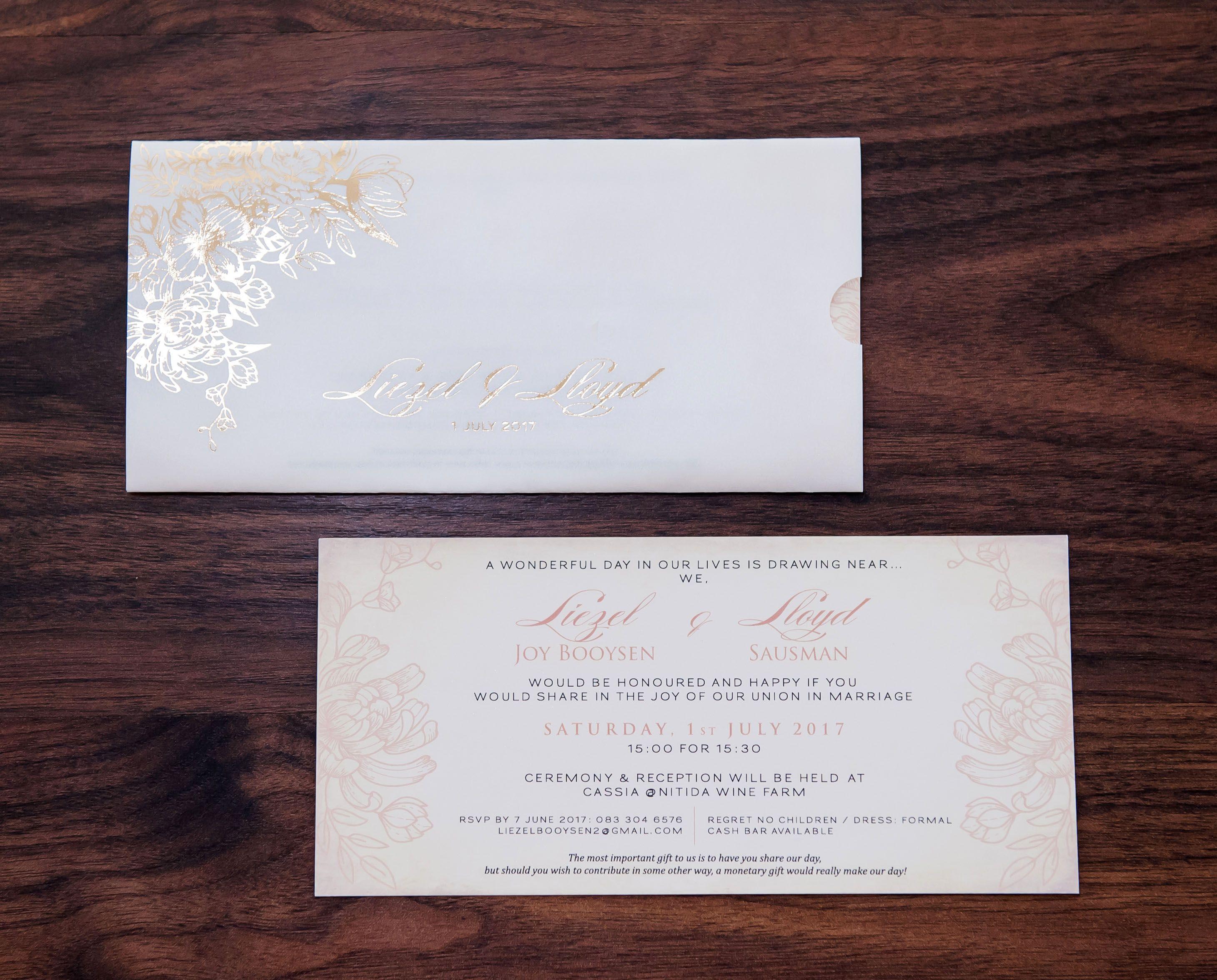 Gold foil floral trace sleeve wedding invitation | Metallic Foiled ...