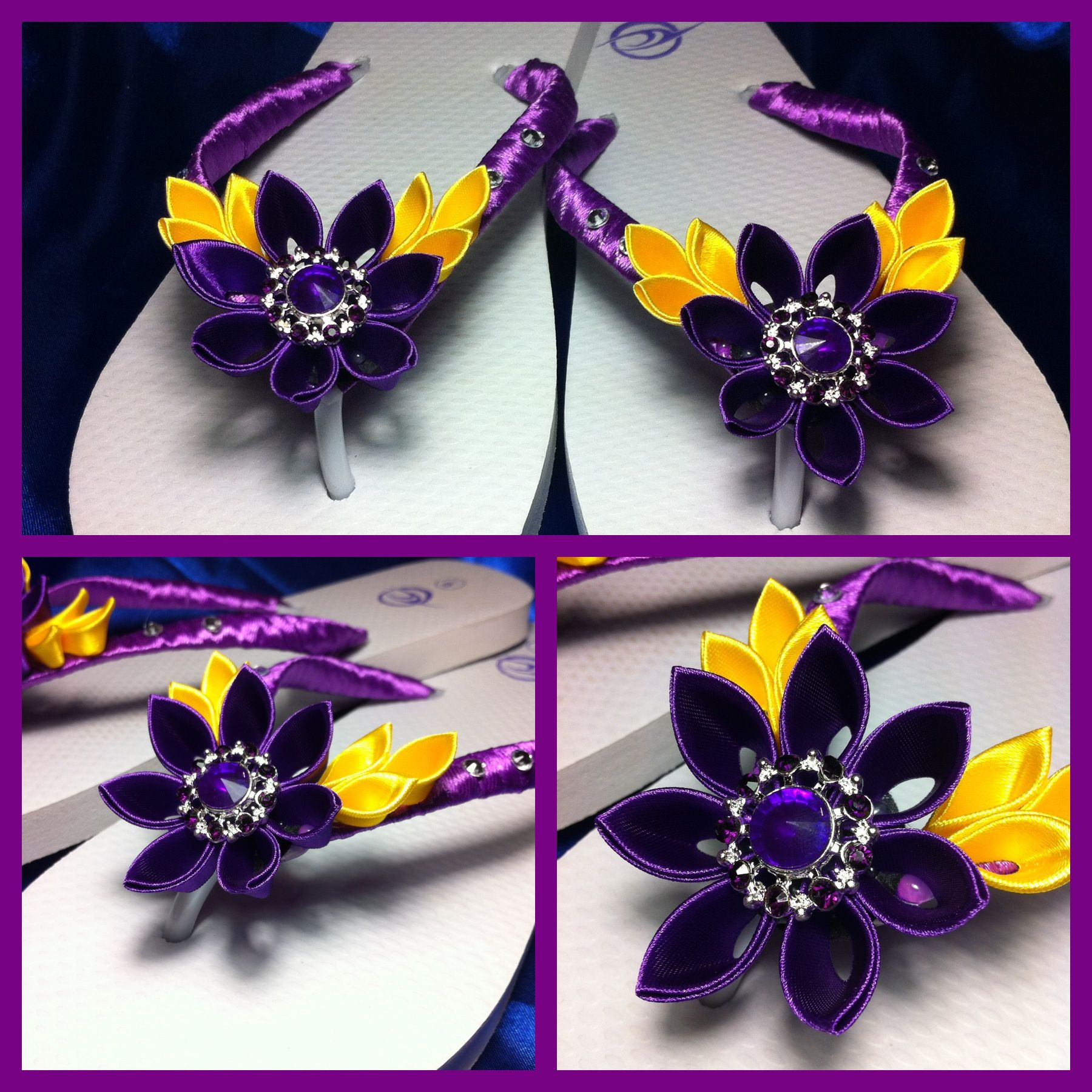 Kanzashi flowers purple and yellow satin ribbon on flip flops/thongs.