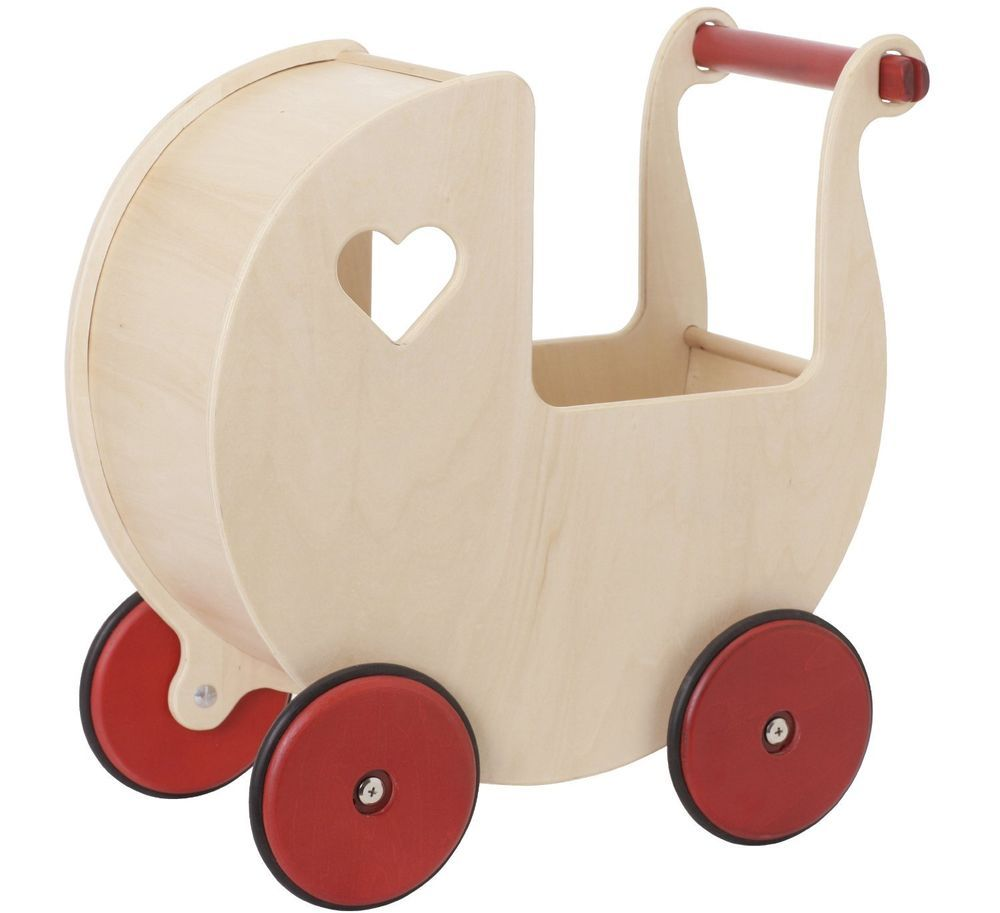 Moover Wooden Doll s Pram - pull-along/push-along - Danish Design - Natural - 60 pond