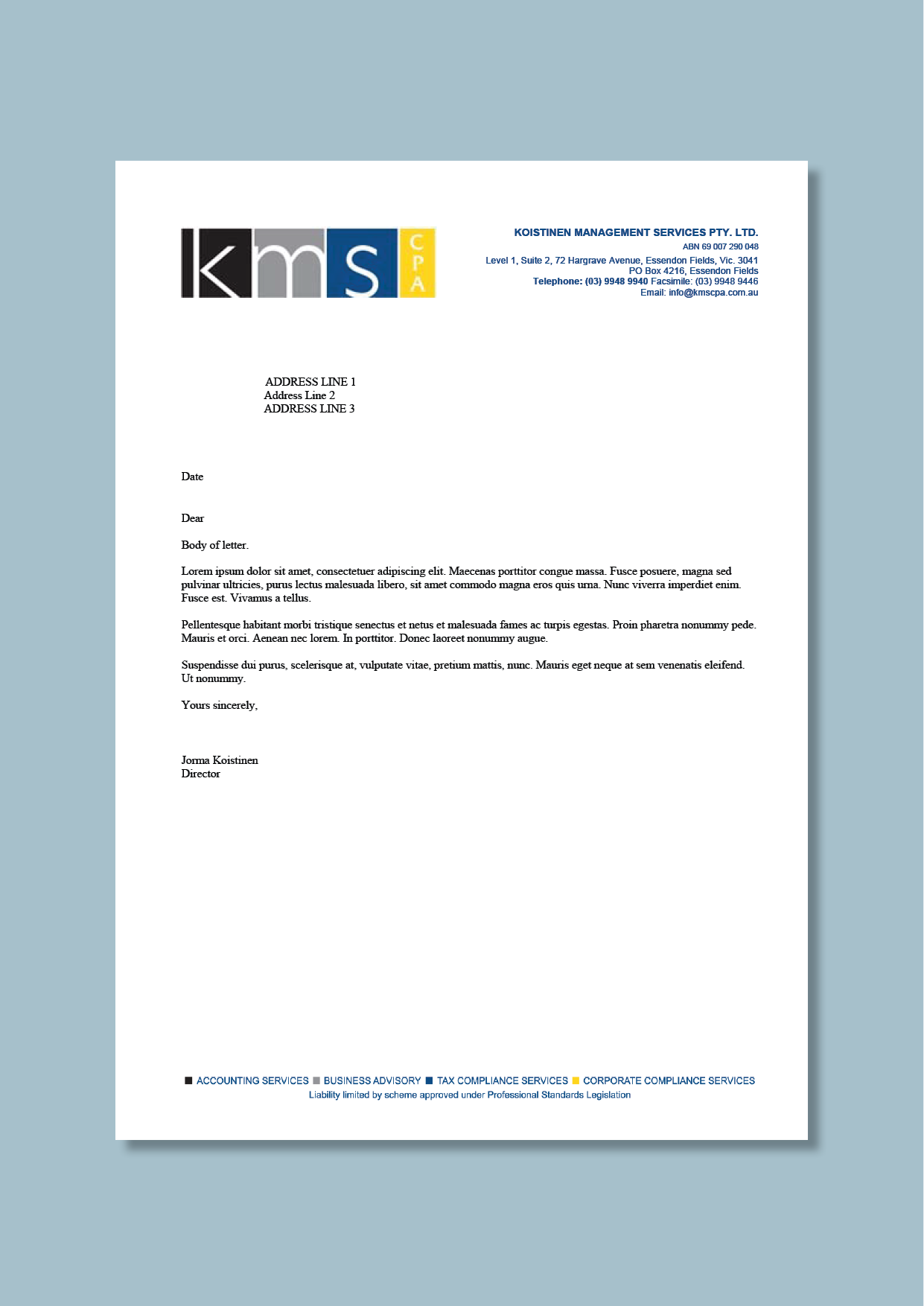 Accountancy and management consultancy letterhead