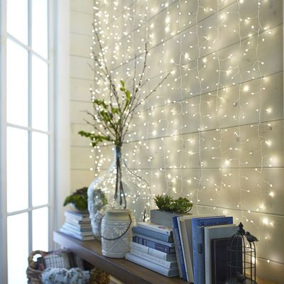 White MultiStrand LED Curtain Glimmer Strings Lights Flats and Room