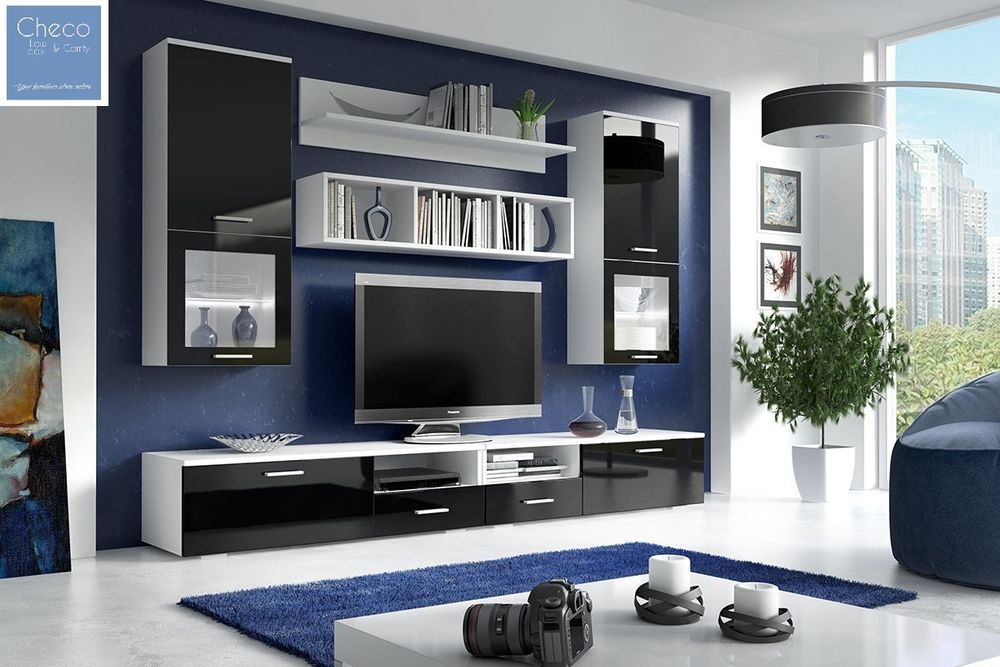 Living Room Furniture Set Display Modern Wall Unit Tv Cabinet High Gloss Pilot Living Room Sets Furniture Modern Wall Units Modern Tv Units