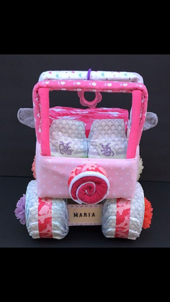 Baby Shower Centerpiece Jeep Diaper Cake Pink Camo Baby