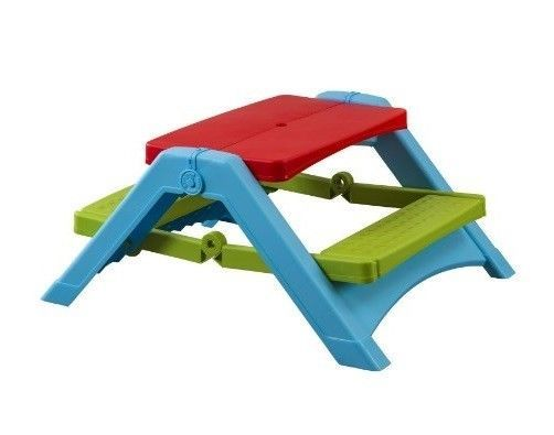 Kids Picnic Table Bench Small Garden Camp Travel Folding