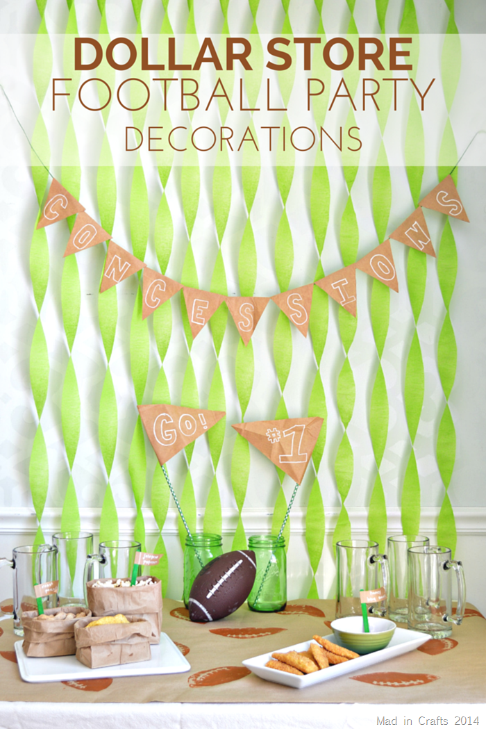 dollar store football party decorations mad in crafts - Football Decorations