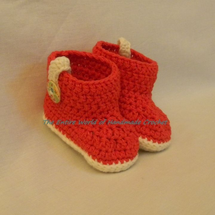 """€19. Crochet """"Carmine"""" Booties for a Baby Girl 9+ months old. Ready to ship."""