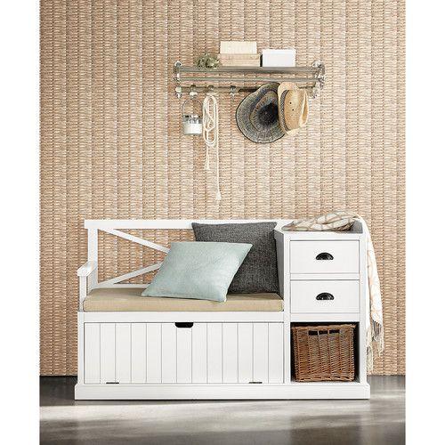 meuble d'entrée en bois blanc l 135 cm freeport | maisons du monde