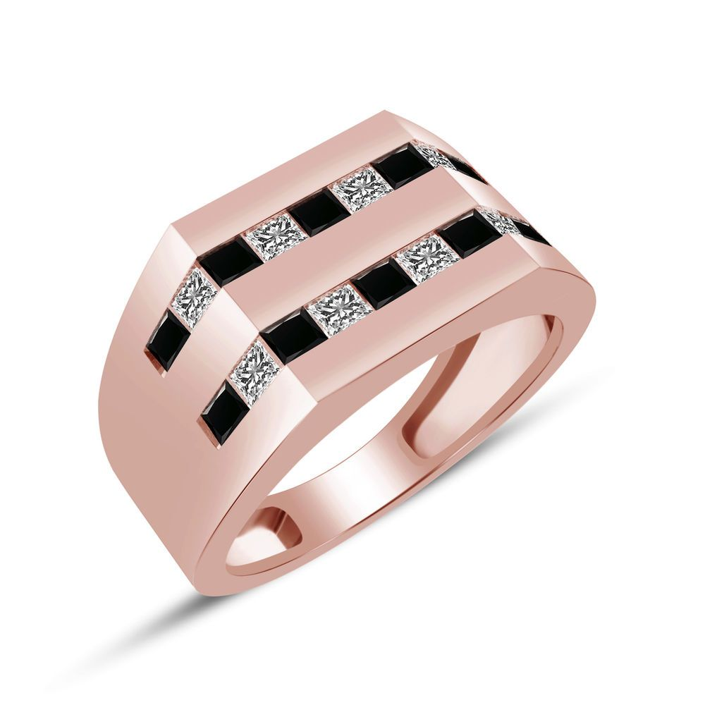 Details about Men\'s Princess Cut Black & White Diamond Ring in 14k ...
