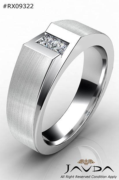 2 Stone Princess Diamond Men Half Wedding Band 14k White Gold 9 1