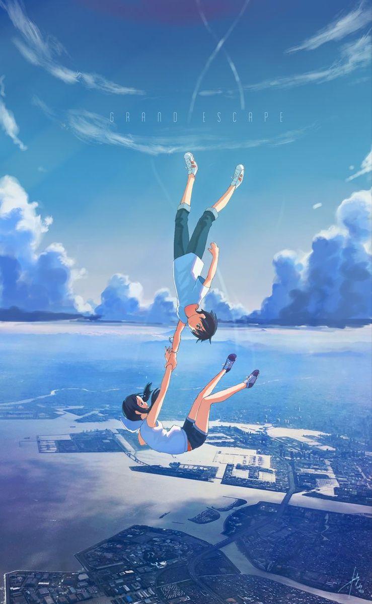 Pin Oleh Miguel Rodrigues Di Tenki No Ko Weathering With You Phone Wallpapers Pemandangan Anime Pemandangan Lukisan Jepang